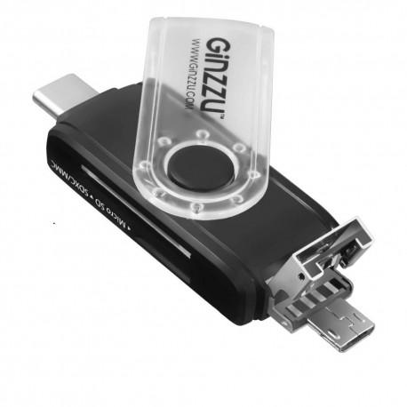 Картридер внешний Ginzzu GR-325B черный OTG TYPE C/microUSB/USB2.0  SD/microSD