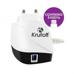 Зарядное устройство для Iphone Lighting + USB Krutoff CH-12 2.1A
