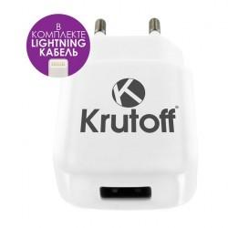 Зарядное устройство - USB 2.1A + кабель Lightning Krutoff CH-16 белое