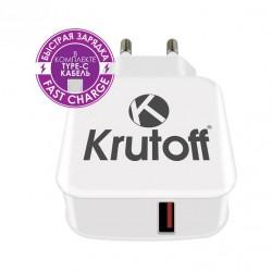 Зарядное устройство - USB 3.1A + кабель USB Type-C Krutoff CH-22 функция быстрой зарядки