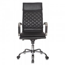 Кресло руководителя БЮРОКРАТ CH-991 (962617) иск.кожа, мех. качания, рег. высоты, крест. хром, Black