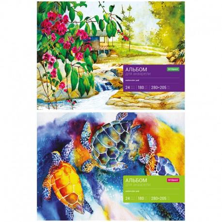 Альбом для акварели 24л. на склейке, блок рис.бум., 180г/м2, Спейс (Аа24_7900)