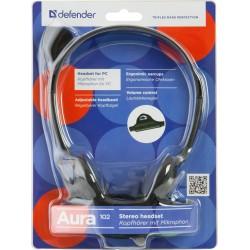 Гарнитура Defender Aura 102 накладные, 32Ом, 85дБ, кабель 1.8м, Black