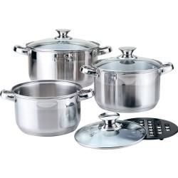 Набор посуды Bekker BK-1250 DeLuxe 7пр,нерж.сталь,3кастрюли,бакелит.подставка,крышки,мерная шкала