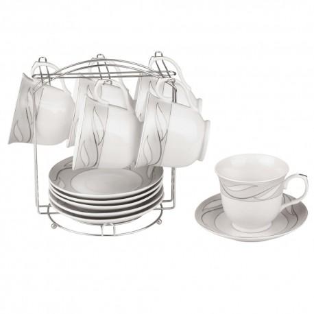 Набор чайный Bekker BK-6802 13 предметов,чашка 6шт,блюдце 6шт,подставка метал.,фарфор