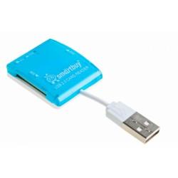 Картридер внешний Smartbuy SBR-713-B голубой USB2.0 SD/microSD/MMC/MS