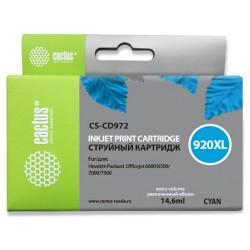 Картридж струйный CACTUS CS-CD972 №920XL для HP Officejet 6000/6500/7000/7500 cyan