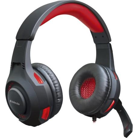 Игровая гарнитура Defender Warhead G-450 полноразмерные, 32Ом, 115дБ, кабель 2.3м, BlackRed