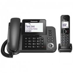 Радиотелефон Panasonic KX-TGF310 RUM,серый 1трубка+провод.трубка/50м/300м/АОН/книга 100номеров/спикерфон/-/набор на базе/17-330ч/2*AAA