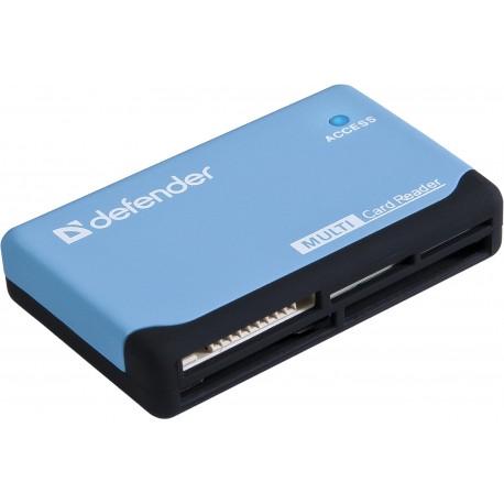 Картридер внешний DEFENDER Ultra голубой/черный USB2.0 CF/SD/microSD/MS/MMC