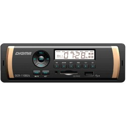 Автомагнитола Digma DCR-110B24 1DIN, 4x45Вт, MP3, FM, USB, AUX