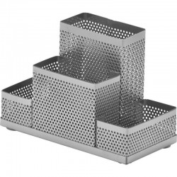 """Подставка """"Башня"""" 4 отделения, металлическая, серебро (383308)"""