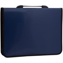 Папка-портфель пластиковый, 1 отделение, Спейс, А4+, 2 кармана, синий 269270