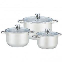 Набор посуды Bekker BK-1267 Jumbo 6пр,нерж.сталь,кастрюли:2.1л/16см,2.9л/18см,3.9л/20см,крышки