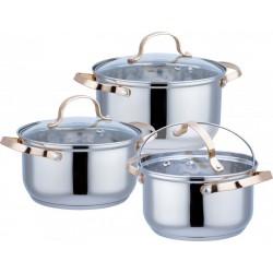 Набор посуды Bekker BK-1780 6пр,нерж.сталь,кастрюли:1.9л/16см,3.6л/20см,6.1л/24см,крышки,индукция
