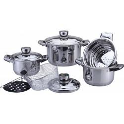 Набор посуды Bekker BK-2865 DeLuxe 9пр,нерж.сталь,3кастрюли,пароварка,корзина для жарки-фритюрница, крышки с термодатчиками,мерная шкала