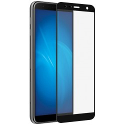Защитное стекло для Samsung Galaxy J4+/J6+ (2018) с цветной рамкой (fullscreen + fullglue) DF sColor-57 (black)