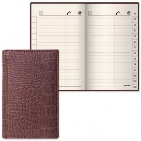 """Телефонная книга BRAUBERG А7 56л. """"Cayman"""" коричневая (125135)"""