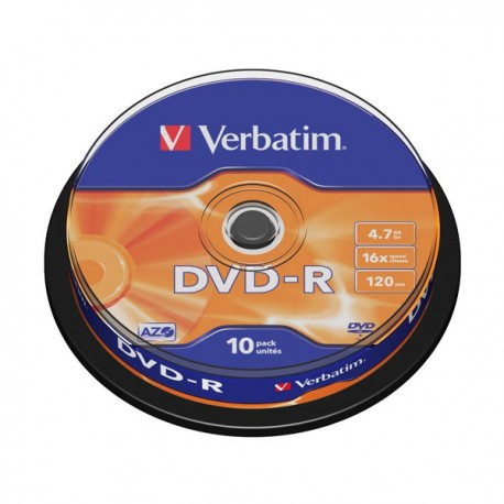 Диск DVD-R  10шт Verbatim 4.7Gb 16x Cake box 43523