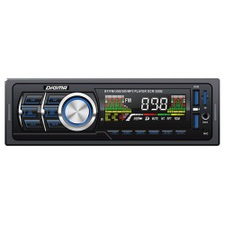 Автомагнитола Digma DCR-350B 1DIN, 4x45Вт, MP3, FM, SD, USB, AUX