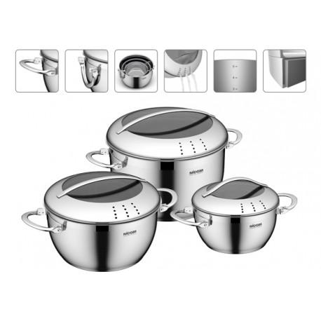 Набор посуды NADOBA MARUSKA (726618) 6пр,кастрюли 24/20/16см,3крышки,хранение одна в одной
