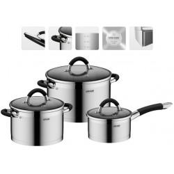 Набор посуды NADOBA OLINA (726418) нерж.сталь,6пр,кастрюли 24см/6л,20см/3.2л,ковш 16см/1.5л,3крышки