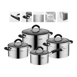 Набор посуды NADOBA OLINA (726419) нерж.сталь,8пр,кастрюли 24см/6л,20см/3.2л,18см/2.1л,ковш 16см/1.5л,4крышки