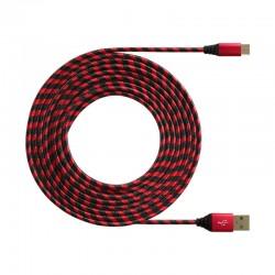 Дата-кабель USB-USB Type C DF cZebra-02 red/black нейлоновая оплетка 1 м