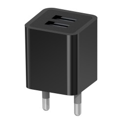 Зарядное устройство - USB 2x2.1A Vertex Slim Line черное (максимальный ток заряда 2,1A)