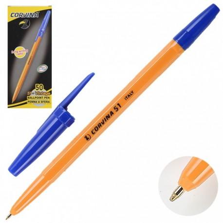 "Ручка шариковая Cоrvina ""51 Vintage"" синяя 1мм (желтый корпус) (40163/02G)"