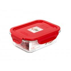 Контейнер Oursson CG0602S/RD 0.63л,жаропроч.стекло,крышка с защелками,силикон.уплотнитель,красный