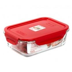 Контейнер Oursson CG1002S/RD 1.04л,жаропроч.стекло,крышка с защелками,силикон.уплотнитель,красный