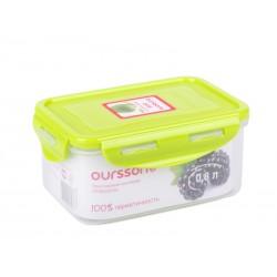 Контейнер Oursson CP0803S/GA 0.8л,пластик,крышка с защелками,силикон.уплотнитель,зеленый