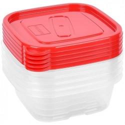 Набор контейнеров Oursson CP2581S/RD 0.45л*5шт,квадратные,пластик,красный