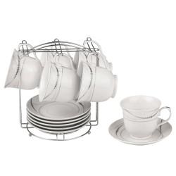 Набор чайный Bekker BK-6805 13 предметов,чашка 6шт,блюдце 6шт,подставка,фарфор