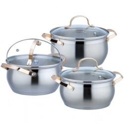 Набор посуды Bekker BK-1790 6пр,нерж.сталь,кастрюли:1.9л/16см,2.7л/18см,3.6л/20см,крышки,индукция