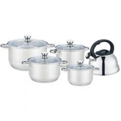 Набор посуды Bekker BK-2595 Jumbo 9пр,кастрюли:16/18/20/24см,чайник,нерж.сталь,мерная шкала,индукция