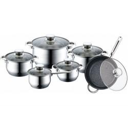Набор посуды Bekker BK-1755 DeLuxe 12пр,кастрюли:16/18/20/24см,сковорода 24см,ковш 16см,крышки