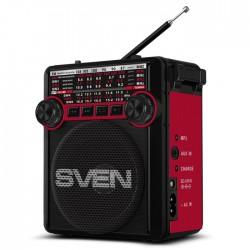 Радиоприемник SVEN SRP-355 красный /FM/AM/SW, USB, SD/microSD, фонарь, встроенный аккумулятор