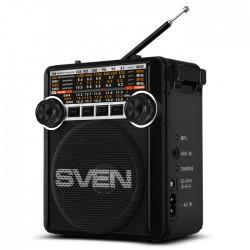 Радиоприемник SVEN SRP-355 черный /FM/AM/SW, USB, SD/microSD, фонарь, встроенный аккумулятор
