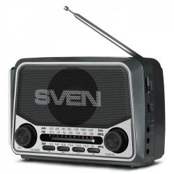 Радиоприемник SVEN SRP-525 серый /FM/AM/SW, USB, microSD, фонарь, встроенный аккумулятор