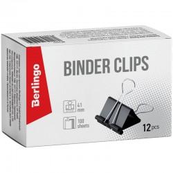 Зажимы для бумаг 41мм. BERLINGO 12шт. черные (BC1241)