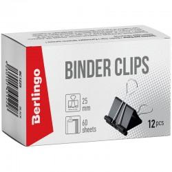 Зажимы для бумаг 25мм. BERLINGO 12шт. черные (BC1225)