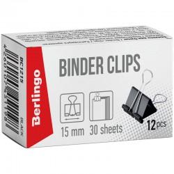 Зажимы для бумаг 15мм. BERLINGO 12шт. черный (BC1215)
