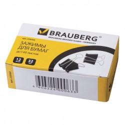 Зажимы для бумаг 32мм. BRAUBERG 1шт. черные (220560)