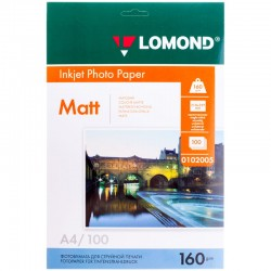 Бумага Lomond 160 г/м2, А4, матовая, 100л. (0102005)