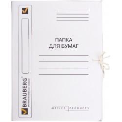 Папка с завязками 320г/м2 BRAUBERG, белая, мелованная (121513)