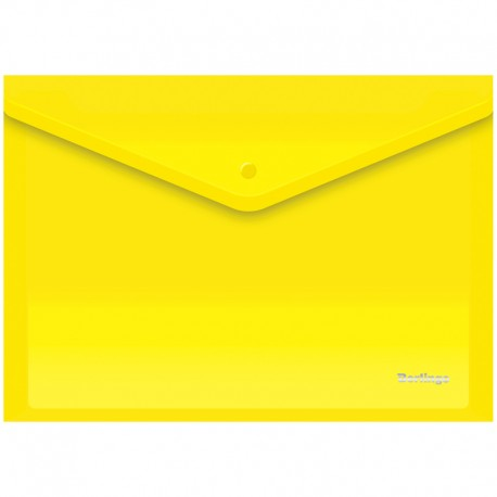Папка-конверт на кнопке А4 180мкм  BERLINGO желтая (AKk 04105)