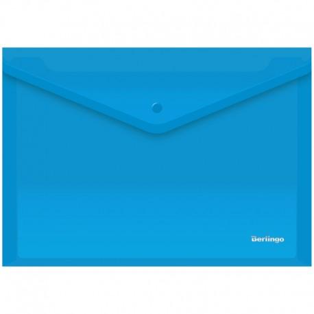 Папка-конверт на кнопке А4 180мкм. BERLINGO синяя (AKk 04102)
