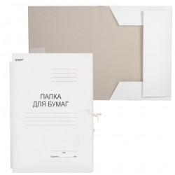Папка с завязками 220г/м2 STAFF, белая до 200л. немелованная (126525)